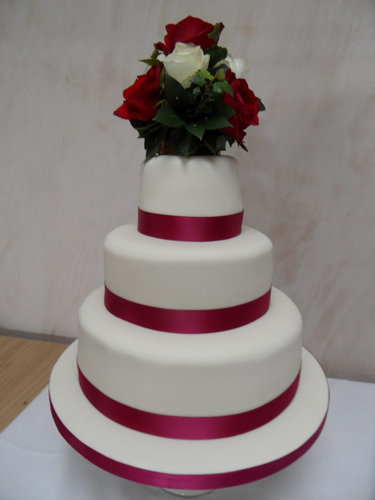 Debut Cake Designs Red Ribbon : Ruby Red Ribbon Wedding Cake - Georgina s Cakes
